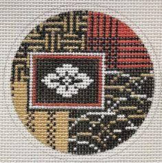 "Mindy # A-9 Asian Design Ornament, 18 mesh, 3"" Round"