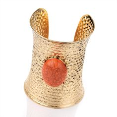 Antique Gold Effect Coral Colour Bead Cuff Bangle Size