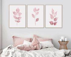 Pink Wall Art Set of 3 Botanical Pink Print Pink Leaf Prints Pink Bedroom Walls, Pink Walls, Bedroom Decor, Wall Decor, Pink Accent Walls, Pink Wall Art, Wall Art Sets, Framed Wall Art, Pink Leaves