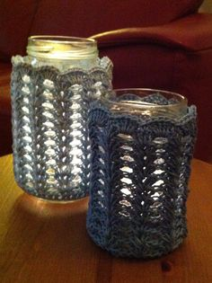 Candle holders with crocheted cover