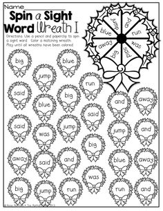 Spin a Sight Word and color a wreath!
