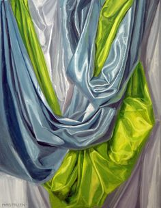 Painting realistic fabric can be intimidating. The key is in a strong lighting of the fabric that allows for well-defined areas of light and shadow. Once the areas are defined observation is a must. This painting, 28x24, by NOAPS artist member Nancy Paris Pruden from Texas is a beautiful example of painting fabric with multiple folds. http://noaps.org/html/exhibits.html