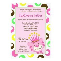 Pink Tiger Queen of the Jungle 5x7 Baby Shower Announcements