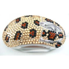 Gold & Brown Leopard Crystal Rhinestone USB Optical LED Scroll Wheel Computer Mouse
