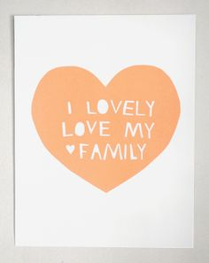 #Lovely, Love My Family Print in Peach.