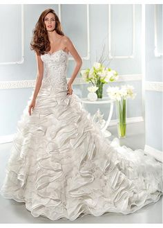 FABULOUS ORGANZA SWEETHEART NECKLINE DROPPED WAISTLINE A-LINE WEDDING DRESS SEXY LADY LACE FORMAL PROM BRIDESSMAID