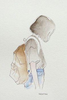 59 New Ideas Drawing Girl Sad Sketches Art Sad Sketches, Art Drawings Sketches, Cute Drawings, Girl Drawings, Amazing Drawings, Watercolor Girl, Watercolor Drawing, Watercolor Paintings, Simple Watercolor