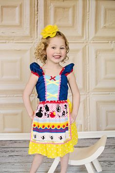 SNOW WHITE dress girls princess dress  by loverdoversclothing