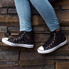 Cute Sneakers, Converse Sneakers, Converse All Star, High Top Sneakers, Bronze Shoes, Metal Stars, Vans Sk8, Alyssa Rivera, Keds