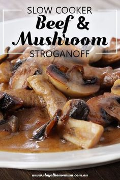 Slow Cooker Beef and Mushroom Stroganoff is great for being prepared in the morning and then being left to cook for the day. You have to wait 8 hours! Slow Cooker Beef, Slow Cooker Recipes, Crockpot Recipes, Cooking Recipes, Beef Mushroom Stroganoff, Stroganoff Recipe, Best Soup Recipes, Favorite Recipes, Healthy Recipes
