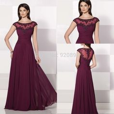 Cheap prom dresses with pretty backs, Buy Quality prom dress deals directly from China prom dress strapless Suppliers: 	Welcome to Fashion Dress			Beautiful Covered Back Long Chiffon Burgundy Prom Dresses With Cap Sleeve