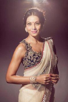 Love this intricate blouse with simple sari on Bipasha Basu.