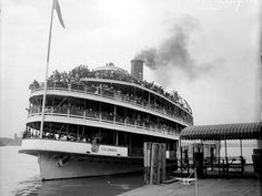 Passengers fill the docked Boblo boat Columbia in the