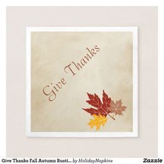 Give Thanks Fall Autumn Rustic Leaves Party Napkin