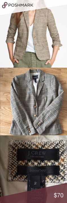 J.Crew Schoolboy blazer in Scottish plaid, 2 J.Crew Collection Schoolboy blazer in Scottish plaid, brown and navy colors. Size 2. Fully lined with cream color. Blazer is cut slim and slightly shrunken, tailored for a fitted look. Hits at hip. J. Crew Jackets & Coats Blazers