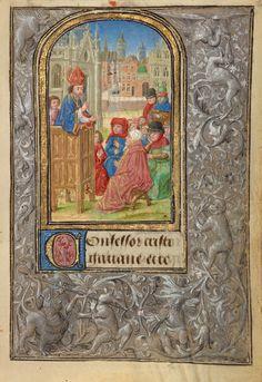 Saint Gatian Preaching; Lieven van Lathem (Flemish, about 1430 - 1493, active 1454 - 1493); Ghent (written), Belgium; 1469; Tempera colors, gold leaf, gold paint, silver paint, and ink on parchment; Leaf: 12.4 x 9.2 cm (4 7/8 x 3 5/8 in.); Ms. 37, fol. 36
