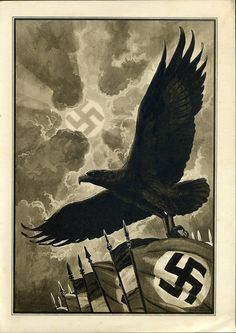 This is an Example of Totalitarian because the image shows as if The Nazi'z had power over the government and people.