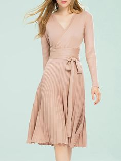 Shop Midi Dresses - Apricot Plain Casual Pleated Midi Dress online. Discover unique designers fashion at StyleWe.com.