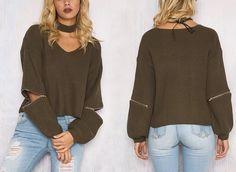 ♡ Cozy Knitted Warm Sweater Casual Loose Open Sleeve Zipper Jumper ♡
