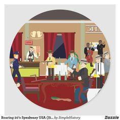Roaring 20's Speakeasy USA (Simple History) Classic Round Sticker 1920s Speakeasy, Speakeasy Party, 1920s Theme, Roaring 20s, Party Themes, Party Ideas, Round Stickers, Party Hats, Custom Stickers