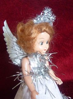 Christmas Tree Fairy Angel Decoration. Little  Hard Plastic American Doll. Trimmed in Silver Tinsel with Silver Embossed Dresden Wings. | eBay!