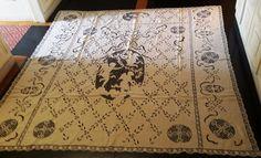 copriletto n.2 copritavolo o tenda ricamato a mano misura 205 x 205 cm con putti…