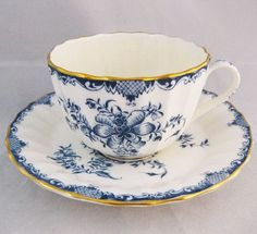 China Cups And Saucers, Teapots And Cups, China Tea Cups, Teacups, Shabby Vintage, Vintage Tea, Cuppa Tea, Blue And White China, My Cup Of Tea