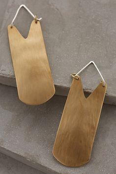Brass Shield Earrings - anthropologie.com