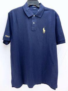 2db20ea52 Polo Ralph Lauren Classic Fit Mens Blue Gold Large Pony Knit Shirt Cotton  Size L #