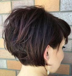 Trendy layered short hairstyle for thick hair