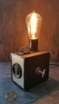 Check out this item in my Etsy shop https://www.etsy.com/listing/243180905/unique-camera-lamp-steampunk-lamp-ansco