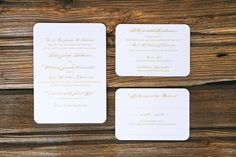 classic white and gold wedding invitations - University of Notre Dame Wedding Featured On Midwest Bride Photos By markit photography