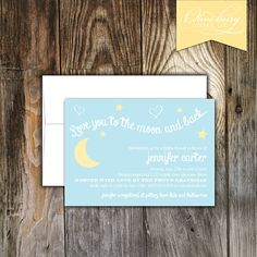 love you to the moon and back baby shower invitation | confetti, Baby shower invitations