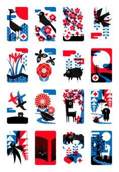 """Redesign of the Japanese Card Game """"Hanafuda"""", 44 x 67 mm x 16, offset printing, 2010."""