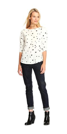 Print Long Sleeve Tee from Joe Fresh. Suit your style to a tee in a pretty print on soft cotton.  Only $24.