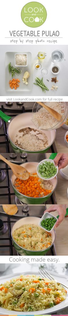 VEGETABLE PULAO RECIPE Vegetable Pulao Recipe (#LC14145): This step by step vegetarian recipe is a quick one pot meal made of mixed vegetable and rice. Get step by step photo recipe at lookandcook.com