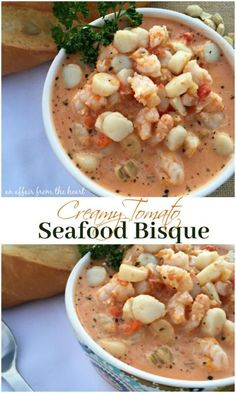 Creamy Tomato Seafood Bisque - An Affair from the Heart -- Shrimp and scallops engulfed in a creamy tomato soup made with veggies, tomatoes and cream cheese.  This one is a must make for you seafood lovers out there!
