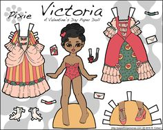 Victoria, a Valentine's Day printable paper doll in color with two dresses and one pair of shoes