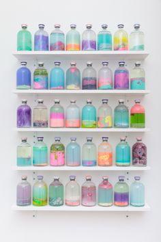 Louise Zhang | Artereal Gallery -  SLOSH SAMPLES #1 2014 flubber, pva glue, acrylic, oil paint, resin plastics, polymer balls, polymer clay, pigment, water, varnish, 100ml serum vials.