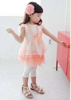 正版韓國精品兒童禮服洋裝  ☆歐風蕾絲氣質禮服洋裝☆(粉橘)