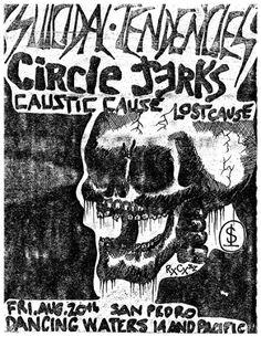 Suicidal Tendencies, Circle Jerks, Caustic Cause, Lost Cause @ Dancing Waters (Flyer, 1982)