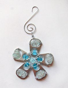 Aqua Sea Glass Christmas Ornament Sea Glass and by oceansbounty