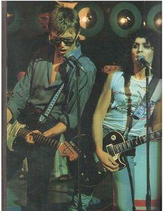 letmegorocknroll:  1977 - Marc Bolan and David Bowie http://25.media.tumblr.com/03c4786c3c75fc7897a15f39caaf58a7/tumblr_mnvsnbk8H21qkuou9o1_500.jpg