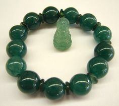 Chinese Green Jade Bracelets with Kuan Yin Feng Shui Good Health, Good Luck and Peace