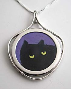 Enamel Black Cat Pendant on Silver Coin Antique Coins, Yellow Eyes, Purple Backgrounds, Animal Jewelry, Black Enamel, Silver Coins, Silver Jewelry, Hand Painted, Pendant Necklace