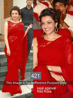 Kajal Agarwal Red Rose Bollywood Sarees Online ,Veeshack.com | Fashion for the World - 1