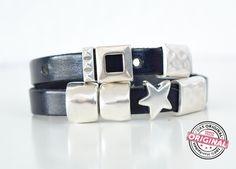 Armband gewickelt dunkel blau Leder Stern & mehr von Andrea Traub - FASHION das Original Shop für Trendschmuck Armbänder Ketten Perlenschmuck in vielen Styles auf DaWanda.com