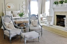Such a soothing room.....touches of shabby chic + practicality