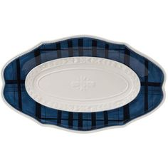 Add a touch of elegance to your tablescape with this stylish tray, featuring a traditional blue and white plaid pattern.Product: ...