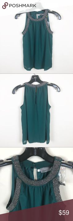 Vero moda green chiffon beaded halter tanktop NWT  Halterneck tanktop with beading around the neckline. Chiffon material, lined Pit to pit 15 inches  Length 24 inches Vero Moda Tops Tank Tops